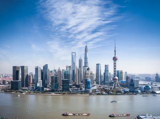 a bird's eye view of shanghai skyline