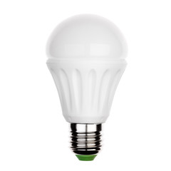 LED light bulb with e27 ceramic socket Isolated on white