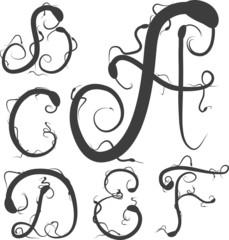 snake alphabet black