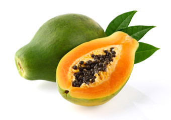 Papaya with leaves