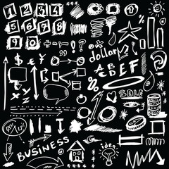 set doodle abstract business icons isolated on black