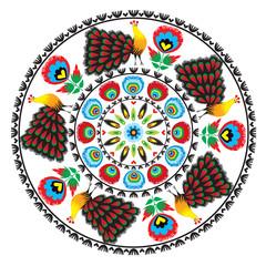 wzór ludowy z kwiatami i pawiem, łowicki - fototapety na wymiar