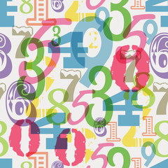seamless numbers pattern, vector illustration