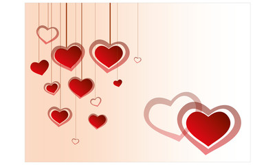 Valentine's day motive with hanging hearts