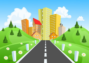 Road through the countryside into the city