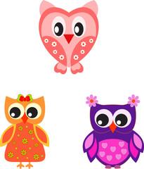 Owl Illustrations, Valnetine Owls