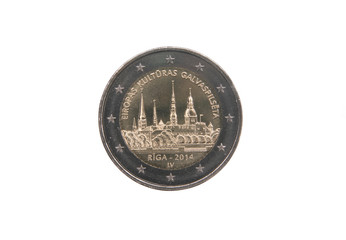 Commemorative coin of Latvia minted in 2014 over white