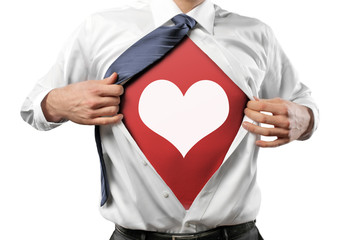 Man open Shirt with Heart