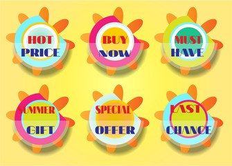 Set of six stickers, text - best price, buy now, must have