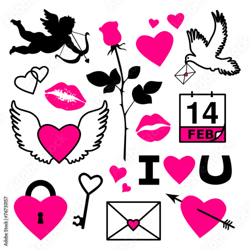 Set Of Valentine S Day Symbols Stock Image And Royalty Free Vector