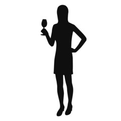 Silhouette of a woman with a glass of wine.