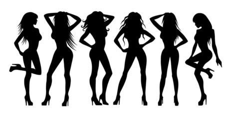 Girls silhouettes on white