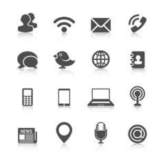 Communication Icons with Reflection