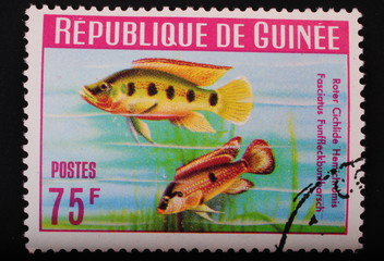 Postage stamp with the inhabitants of the underwater world