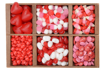 assorted valentines candy in a box