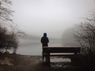 walk around the foggy lake