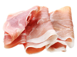 Sliced of jamon isolated on white background