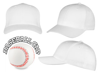 white baseball cap set