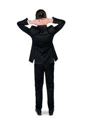 Business man hands on head