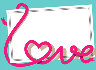 Blank post card with pink ribbon