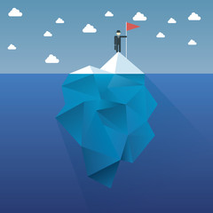 Polygon iceberg concept vector design with infographic menu