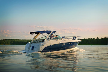 Motorboat yacht Wall mural