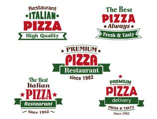 Italian pizza restaurant logo or banner designs