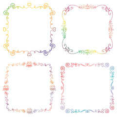 Set of hand drawn colorful doodle frames