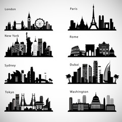 City skyline set. Vector silhouettes