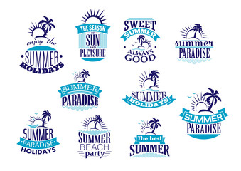 Summer holidays retro symbols and logo