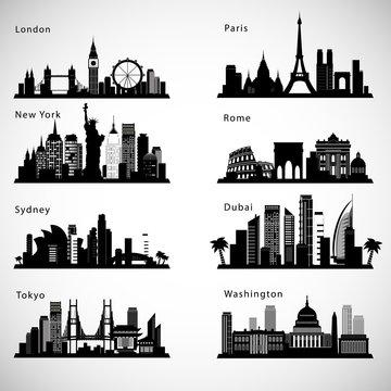 City skyline set. Vector silhouettes