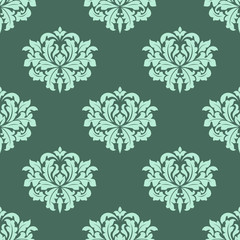 Abstract arabesque green seamless pattern