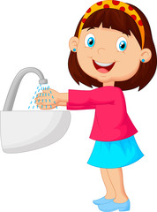 Cute cartoon girl washing her hands