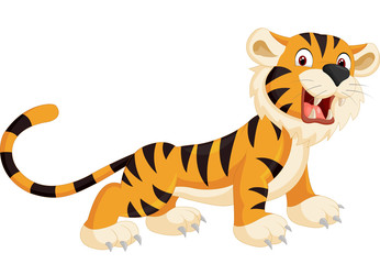 Cute tiger cartoon roaring