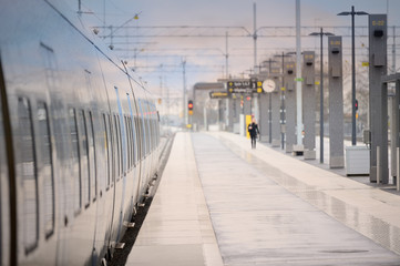 Stationary commuter train