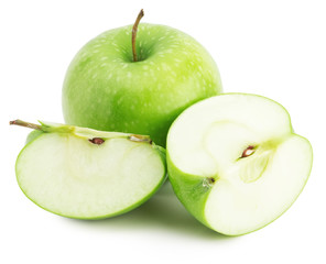 green apple with slice isolated on the white background