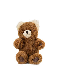One teddy bear sitting, on white background.