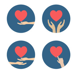 hand with heart flat icon