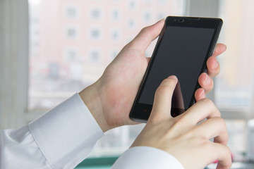 man using mobile smartphone