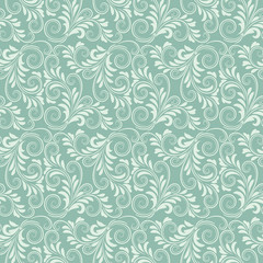 Blue baroque floral pattern
