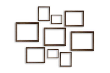 Wooden photo frames on white background