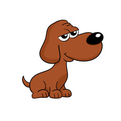 Cute happy brown dog cartoon illustration - isolated
