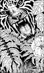 Wild Tiger Roar Doodle Art B&W