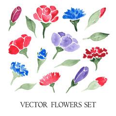 vector set of watercolor flowers