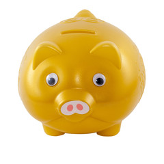 Golden piggy bank from front side, isolated
