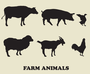 farm animals. vector icons