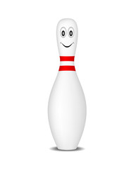 Bowling pin with smiling face