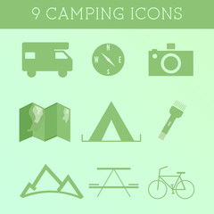 Set of Outdoor Summer camping Icons. RV, motorhome and travel