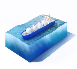 liquid natural gas tanker on part of ocean