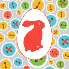 Easter bunny in the egg on the decorative background with button